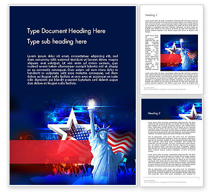 Holiday/Special Occasion: Statue Of Liberty With Fireworks Word Template #13291