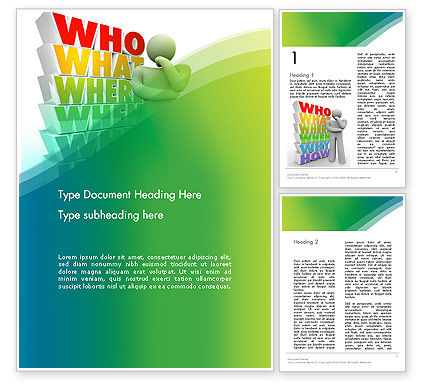 Who What Where When Why Word Template, 13296, Education & Training — PoweredTemplate.com