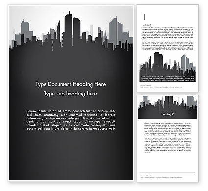 Construction: Black and White City Silhouette Word Template #13297