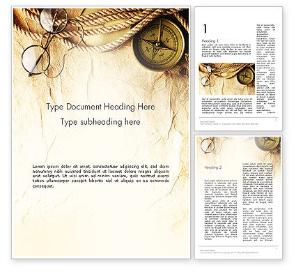 Compass Rope And Glasses On Old Paper Word Template 13335