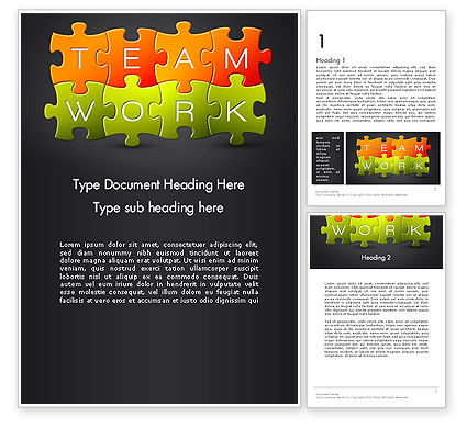 Teamwork Puzzle Word Template, 13355, Careers/Industry — PoweredTemplate.com
