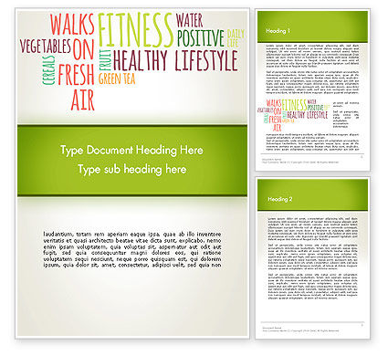Healthy Lifestyle Word Cloud Word Template, 13362, Medical — PoweredTemplate.com