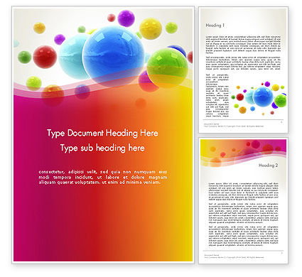 Colorful Flying Spheres Word Template, 13364, 3D — PoweredTemplate.com
