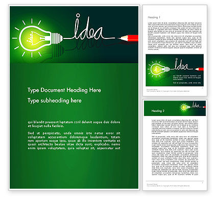 Business Concepts: Idea Concept with Light Bulb Word Template #13394