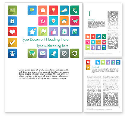 Icons in Flat Design Word Template, 13421, Business Concepts — PoweredTemplate.com