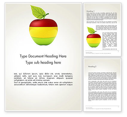 Multi Colored Apple Word Template, 13423, Food & Beverage — PoweredTemplate.com