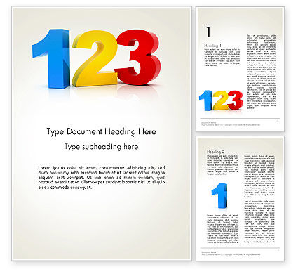 Education & Training: Numbers 123 Word Template #13424