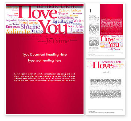 Holiday/Special Occasion: Declaration of Love in Different Languages Word Template #13425
