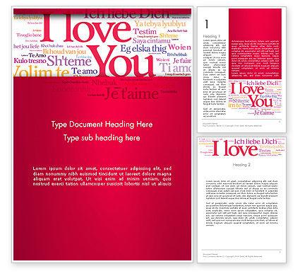 Holiday/Special Occasion: 워드 템플릿 - 다른 언어로 된 사랑의 선언 #13425
