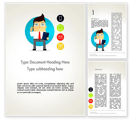 Businessman and App Icons Word Template, 13442, Business — PoweredTemplate.com