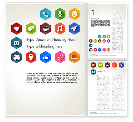 Careers/Industry: Flat Social Media Icons Word Template #13459