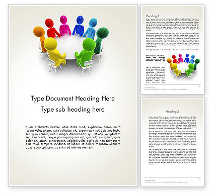 Discussion on a Round Table Meeting Word Template, 13466, 3D — PoweredTemplate.com