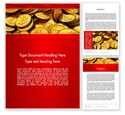 Financial/Accounting: Scattered Bitcoins Word Template #13471