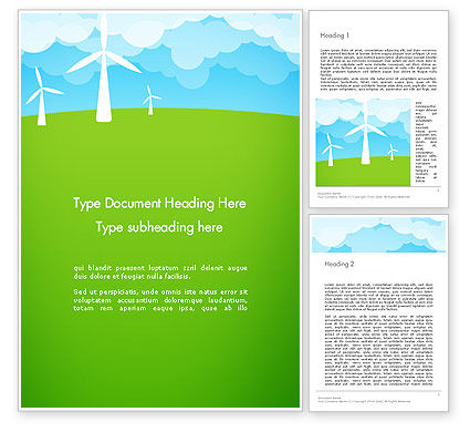 Wind Farm Illustrative Word Template, 13481, Nature & Environment — PoweredTemplate.com