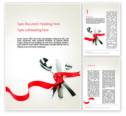 Fork Knife and Spoon Tied Up With Red Ribbon Word Template, 13484, Food & Beverage — PoweredTemplate.com