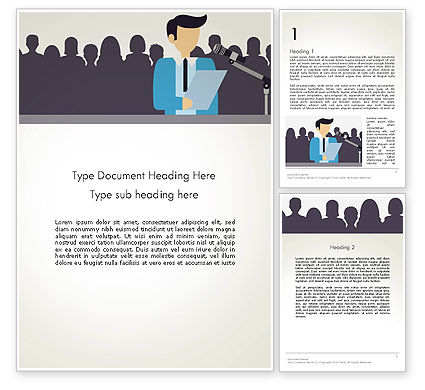 People: Politician Talking to Crowd Word Template #13503