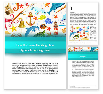 Marine Themed Word Template, 13506, Holiday/Special Occasion — PoweredTemplate.com