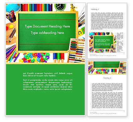 Education & Training: School Supplies Border Word Template #13519