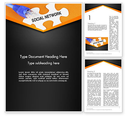 Social Network Puzzle Piece Word Template, 13531, Careers/Industry — PoweredTemplate.com