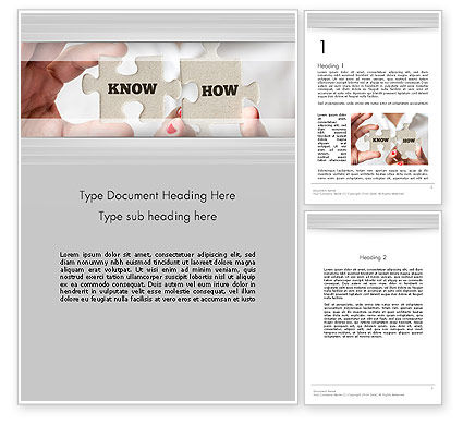 Knowhow Puzzle Pieces Word Template, 13547, Business Concepts — PoweredTemplate.com
