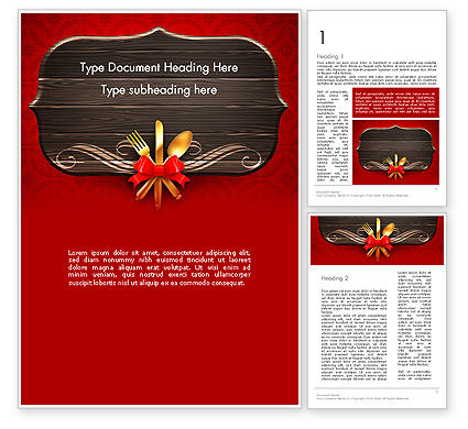 Gold Flatware Restaurant Presentation Word Template