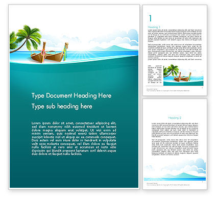 Tropical Island Word Template, 13568, Nature & Environment — PoweredTemplate.com