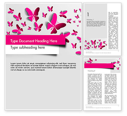 Pink Butterflies Word Template, 13571, Holiday/Special Occasion — PoweredTemplate.com