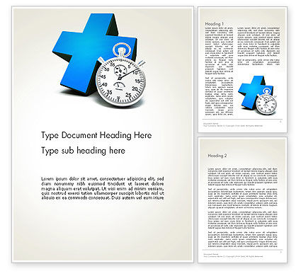 Blue Medical Cross and Stopwatch Word Template, 13572, Consulting — PoweredTemplate.com