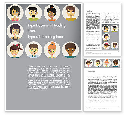 Colored People Avatars Word Template, 13576, People — PoweredTemplate.com