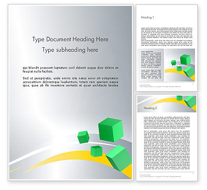 Abstract/Textures: Floating Green Cubes Word Template #13584