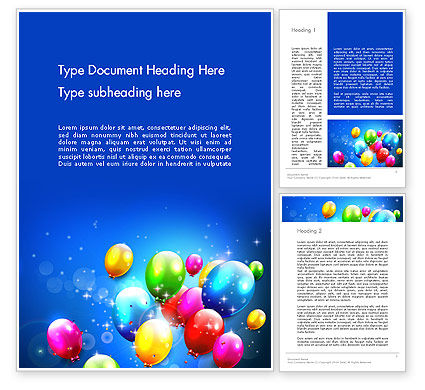 Holiday/Special Occasion: Colorful Birthday Party Balloons Word Template #13592