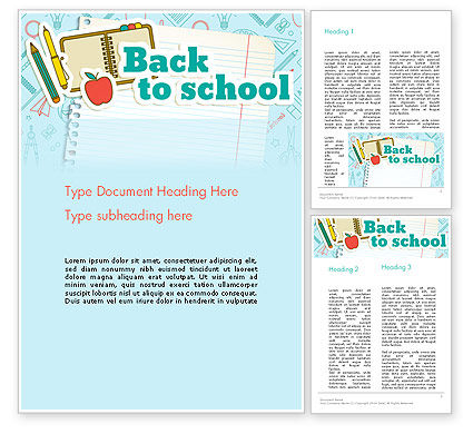 Education & Training: Back to School of Notebook Sheet Word Template #13594