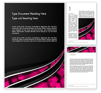 Abstract/Textures: Transparent Wave with Pink Cubes Word Template #13595