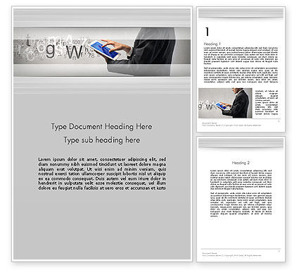 Business: Businessman Working with Touchpad Word Template #13597