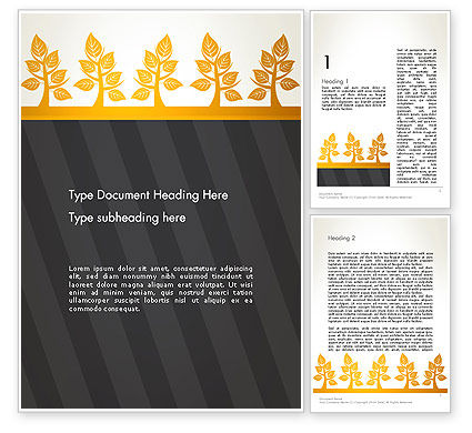 Nature & Environment: Yellow Trees Illustration Word Template #13603