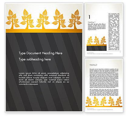 Yellow Trees Illustration Word Template, 13603, Nature & Environment — PoweredTemplate.com