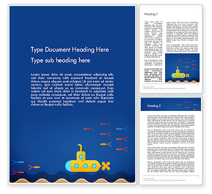 Yellow Submarine Word Template, 13610, Nature & Environment — PoweredTemplate.com