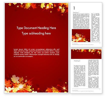 Autumn Leaves Word Template, 13613, Nature & Environment — PoweredTemplate.com