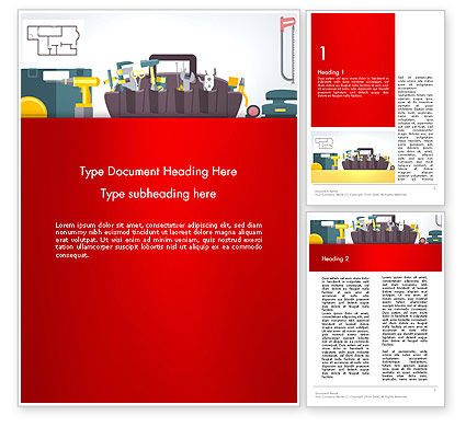 Construction Tools and Equipment Word Template, 13620, Construction — PoweredTemplate.com