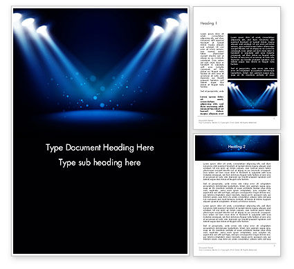 Art & Entertainment: Illuminated Stage with Blue Scenic Lights Word Template #13625