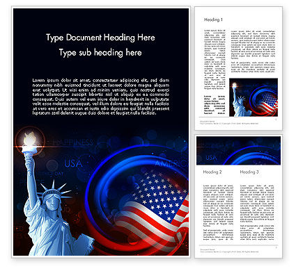 America: American Flag and Statue of Liberty Word Template #13633