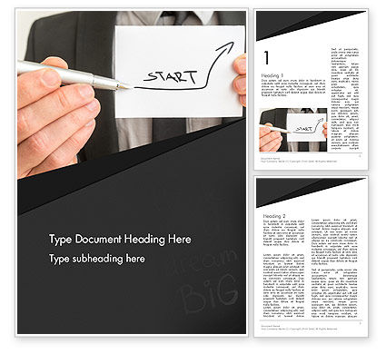 Business Concepts: Man Holding Paper with Inscription Word Template #13638