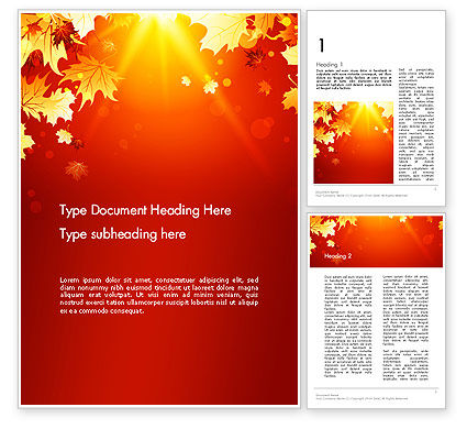 Autumn Maple Word Template, 13642, Nature & Environment — PoweredTemplate.com
