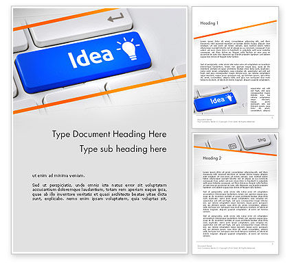Idea Button On Keyboard Word Template, 13648, Business Concepts — PoweredTemplate.com