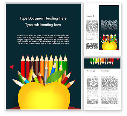 Knowledge Apple and Colored Pencils Word Template, 13650, Education & Training — PoweredTemplate.com