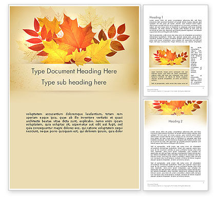 Bunch of Autumn Leaves Word Template, 13658, Nature & Environment — PoweredTemplate.com