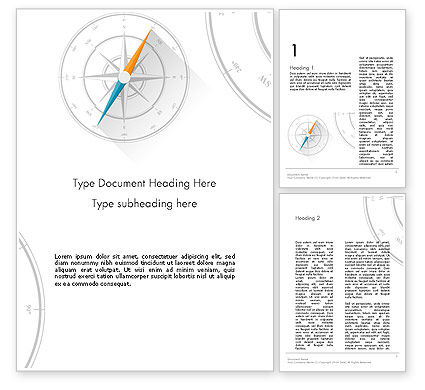 Compass on Wind Rose Word Template, 13665, Business Concepts — PoweredTemplate.com