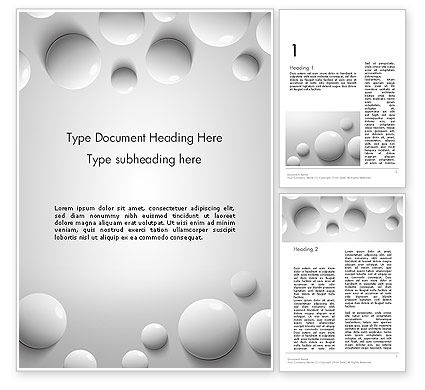 White Drops Word Template, 13668, 3D — PoweredTemplate.com