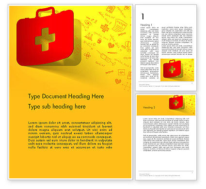 Medical: First Aid Box and Medical Supplies Word Template #13684