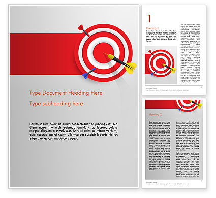 Business Concepts: Red Bullseye Doel Word Template #13690